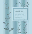 decorative blue vintage striped vegetal greeting vector image