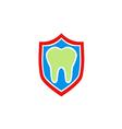 dentist health protection shield logo vector image vector image
