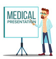 doctor man in white coat near meeting projector vector image