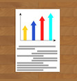 document with growth arrow graphic vector image