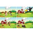 Farm scenes vector image vector image