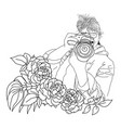 fashion girl with camera and flowers vector image