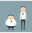 Fat and skinny smiling businessmen vector image