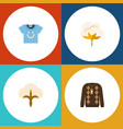 flat icon fiber set of blouse flower pullover vector image