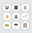 flat icon finance set of money box cash bank and vector image vector image