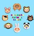 Funny icon children in animal costumes vector image vector image