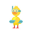 funny little yellow duckling with lifebuoy and vector image