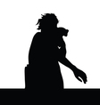 girl and parrot silhouette vector image