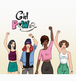girl power feminism concept different young vector image