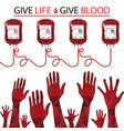 hands with blood bags on white background vector image vector image
