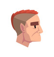 head of young brutal man with mohawk hairstyle vector image
