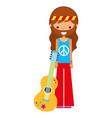 hippie man cartoon with guitar vector image