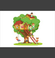kids having fun in the treehouse childrens vector image vector image