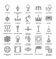 light fixture lamps flat line icons home and vector image vector image
