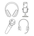 line art black and white various headset vector image vector image