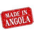 made in Angola red square grunge stamp vector image vector image