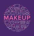 makeup beauty care circle poster concept line vector image vector image