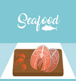 meat steaks and shrimps delicious seafood vector image