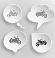Motorcycle White flat buttons on gray background vector image