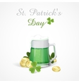Mug Of Green Beer For St Patricks Day vector image