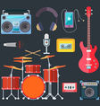 Musical instruments Flat design vector image