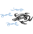 Old turtle in ocean waves vector image vector image
