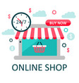online store concept on laptop screen with striped vector image vector image