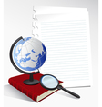 Paper Sheets and Globe vector image vector image