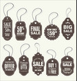 price tags retro vintage brown collection vector image vector image