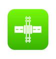 railroad crossing icon green vector image vector image