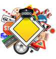 Road Signs with Car Parts vector image vector image