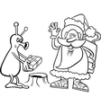 santa claus and alien coloring page vector image vector image