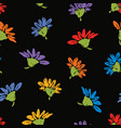 seamless background of colorful daisies vector image vector image