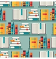 Seamless pattern with books on bookshelves in flat vector image