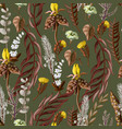 Seamless pattern with tropical and wild flowers