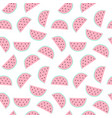 seamless pattern with watermelon pieces hand vector image vector image