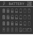 set battery charge level indicators trendy vector image