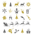 set christmas elements isolated on white vector image