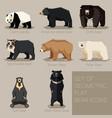 set flat geometric bear icons vector image vector image
