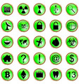 set icons with reflection on a green background vector image vector image