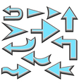 set of blue arrows vector image vector image