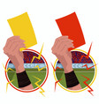 stickers hands holds yellow red card vector image