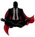 super businessman meditating silhouette vector image vector image