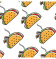 taco mexican food seamless pattern hot cuisine vector image vector image