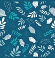 teal tossed floral and leaves mix seamless pattern vector image vector image