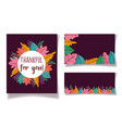 thanksgiving label cards leaves dark background vector image