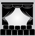 theater stage curtain and rows of chairs vector image vector image