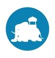 silhouette indian elephant festival blue vector image