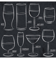 set of different glasses on blackboard vector image