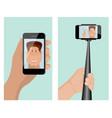 taking a self portrait with monopod self portrait vector image